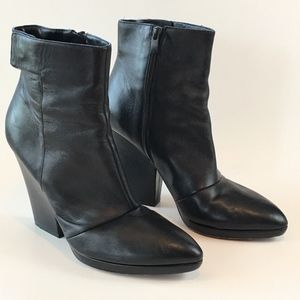 VIince Black Leather Pointed Toe Block Heel Boots